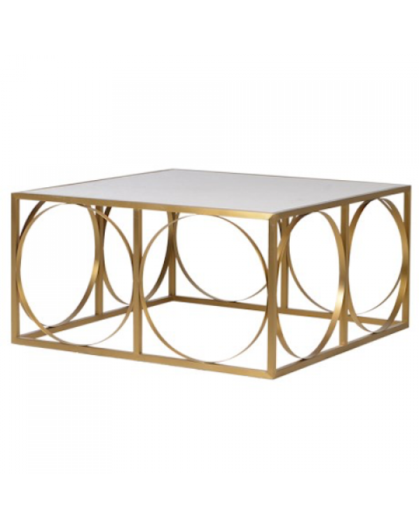 Square and Rings Gold Coffee Table