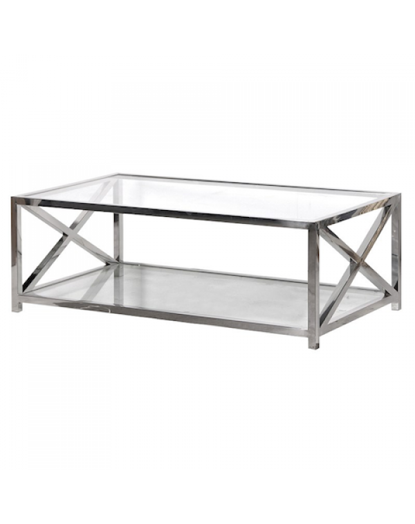 Coach house  Large Glass Steel Coffee Table