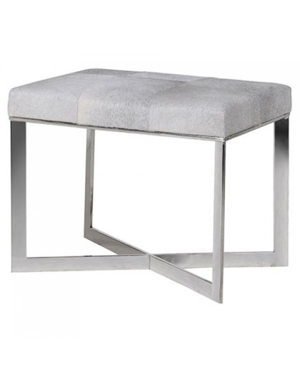 Grey Leather Hide Stool