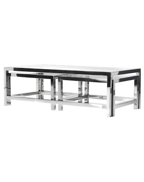Coffee Tables  - Terano Set of 3 Coffee Tables - Asco Lights , Cheshire , Stockpot , stain steel, Glass
