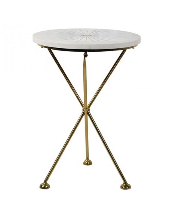 Brass Starburst Inlay Round Table