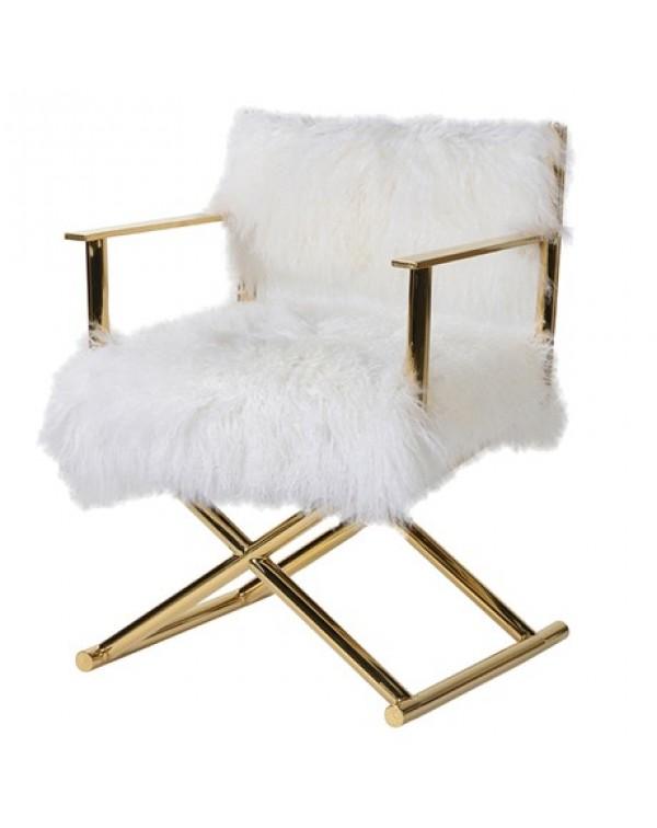 White Mongolian Fur Chair