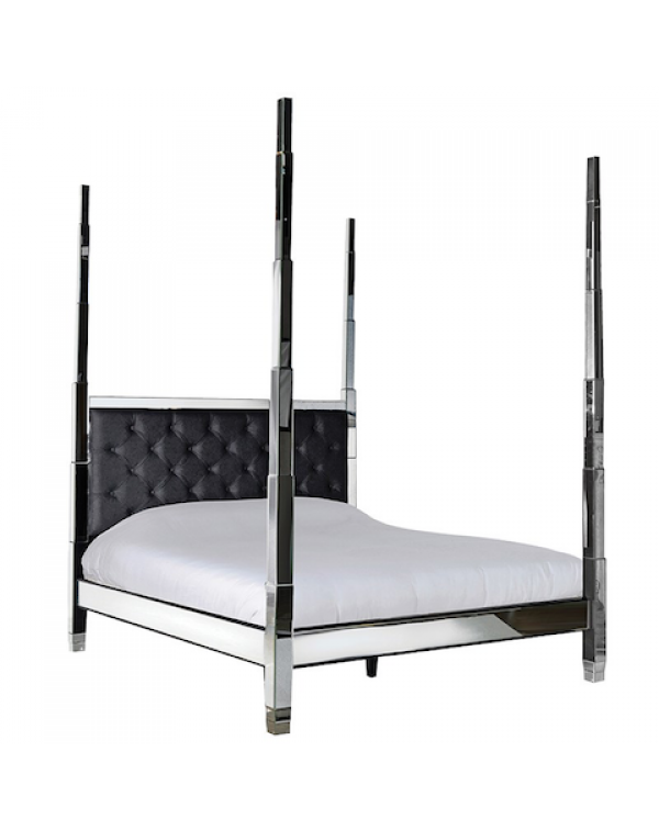 Black Leather Mirrored 6Ft. Super King-Size Bed