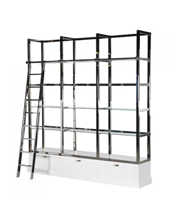 Kensington White & Chrome Library Shelves Uni...