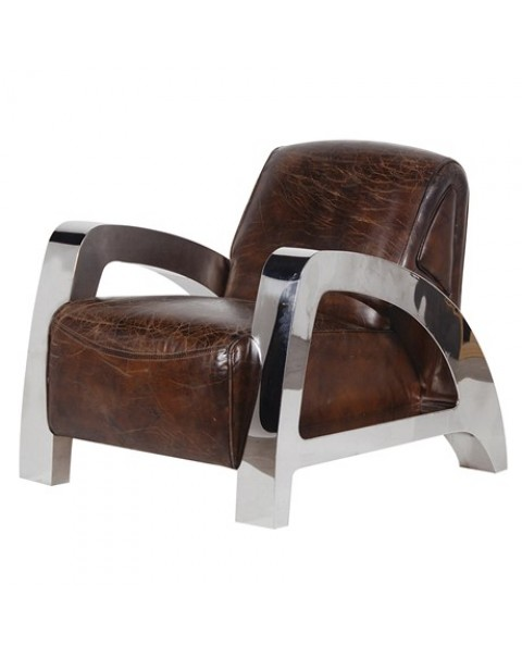 Antique Italian Leather and Steel A-Frame Armchair - Asco Lights