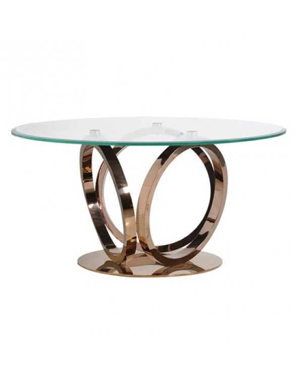 Rose Gold and Glass Round Dining Table