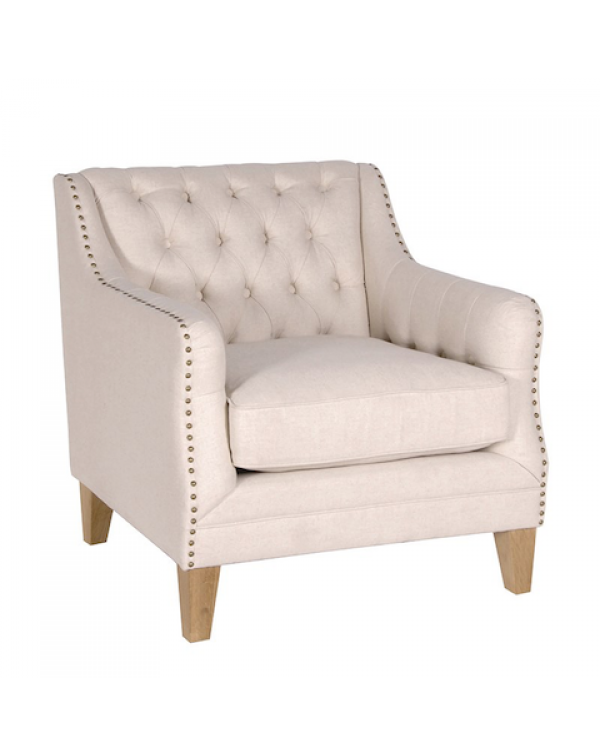 Beige Studded Sofa Chair