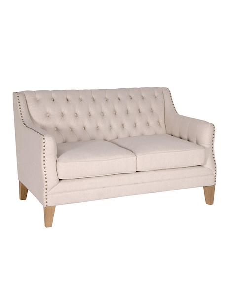Beige Studded 2 Seater Sofa