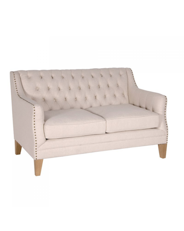 Beige Studded 2 Seater Sofa