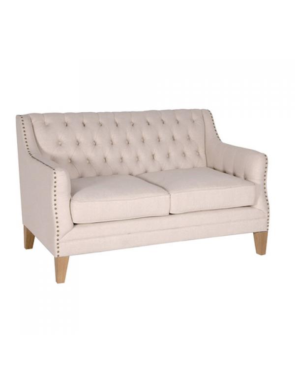 Coach House Beige Studded 2 Seater Sofa