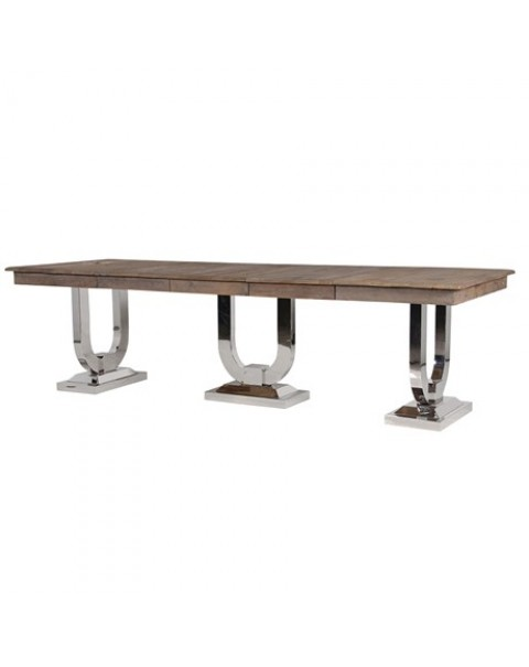 Recycled Pine and Steel Extending Dining Table -Asco Lights
