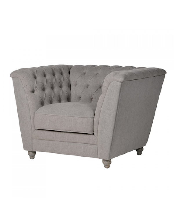 Grey Buttoned Box Chair