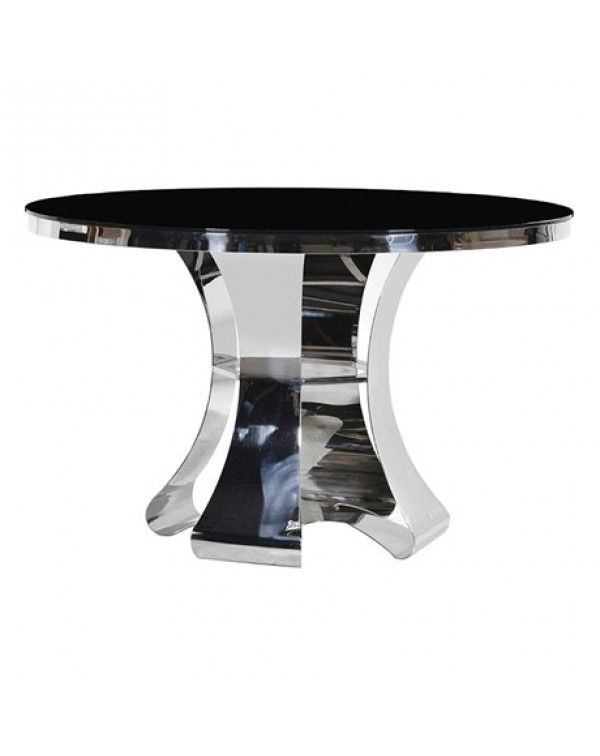 Terano Black & Chrome Round Dining Table