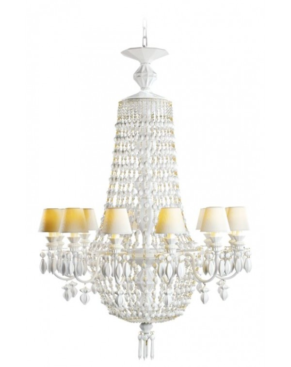 Lladro Belle De Nuit 24 Lights Chandelier. Silver...
