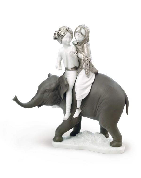 Lladro Hindu Children Figurine Silver Lustre
