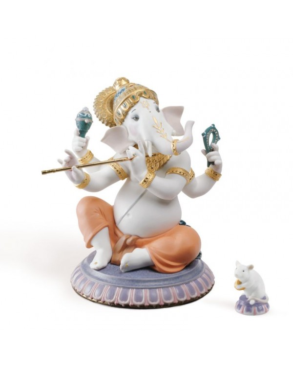 Lladro Bansuri Ganesha Figurine Limited Edition