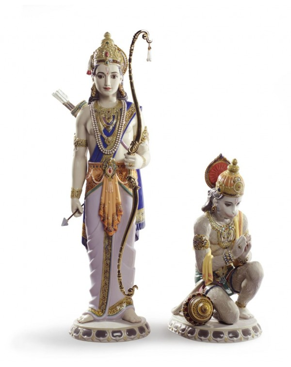 Lladro Lakshman and Hanuman Sculpture  Limited Edi...