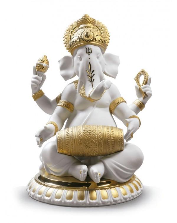 Lladro Mridangam Ganesha Figurine Golden Lustre