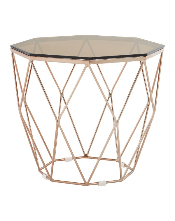 Premier Allure End Table Red Tint Glass Rose Gold