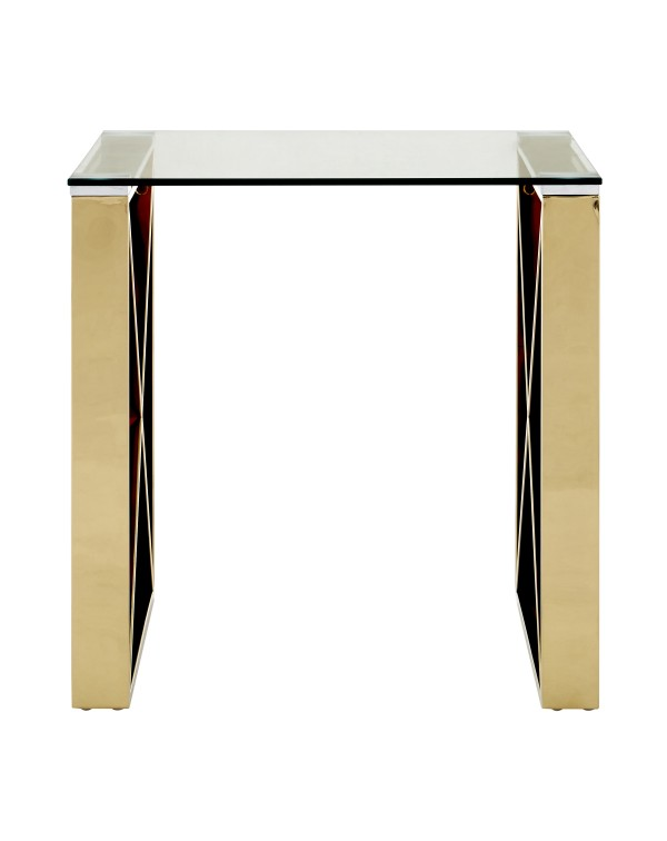 Premier House Allure End Table Clear Glass Champa...
